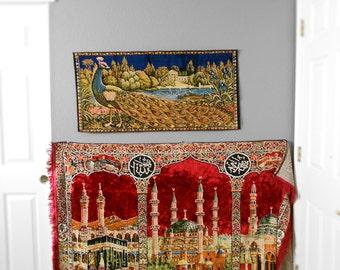 vintage turkish velvet wall hanging carpet tapestry / mosque / temple / kilim