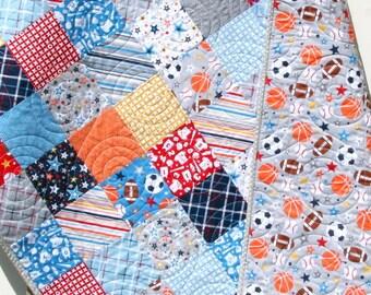 Sports Quilt, Baby Boy Blanket, Nursery Bedding, Basketball Soccer Baseball Football, Navy Blue Green Red Orange, Nursery Decor, Crib Cot