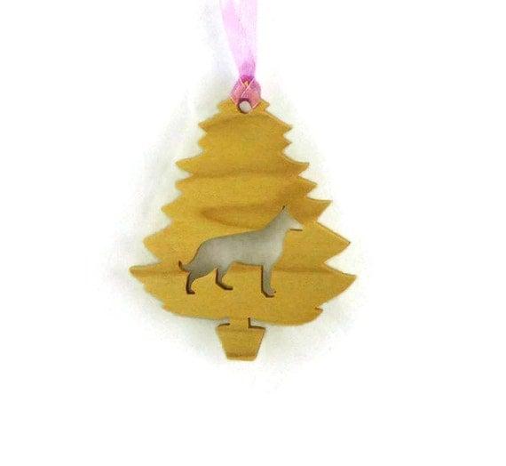 German Shepherd Christmas Tree Ornament Handmade From Poplar Wood ...