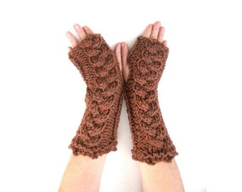 Knitted arm warmers / fingerless gloves , Long Chunky knitted gloves ,  clearance sale , hand knitted chunky christmas gift , unique gloves