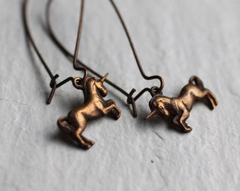 Unicorn Earrings ... Pegasus Horse Mythical Vintage Copper Antique