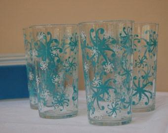Mid Century Glassware/Turquoise Juice Glasses