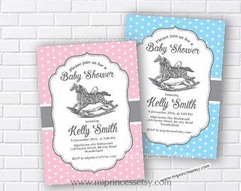 Rocking Horse Baby Shower Invitation Baby boy shower Retro Baby girl baby boy shower Invitation party Invitation Card Design - card 111