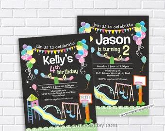 Playground Birthday Invitation, Kids Park, swings ,picnic bbq party 1st 2nd 3rd 4th 5ht 6th 8th 7th 9th 10th 11 12  kids any age - card 645