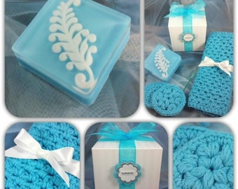 Soap Gift Set ~ Handmade Soap with  Washcloth & Scrubbies