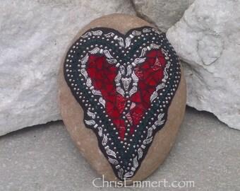Angel Wing Mosaic Heart, Mosaic Rock, Garden Stone, Home Decor, Gardener Gift, Garden Decor,