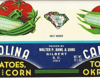 Vintage Carolina Tomatoes, Okra and Corn Can Label, 1960s