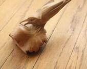 Vintage 70's Hand Carved Wooden Folk Art Bird Figurine