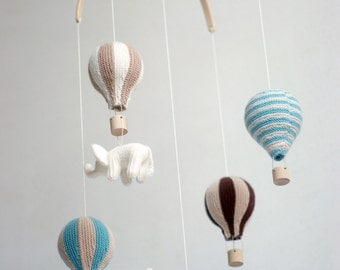 baby mobile - hot air balloon mobile - nursery mobile -  made to order