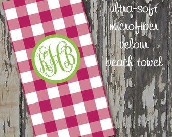 monogrammed CHECK beach towel - huge 30x60 ultra-soft microfiber velour