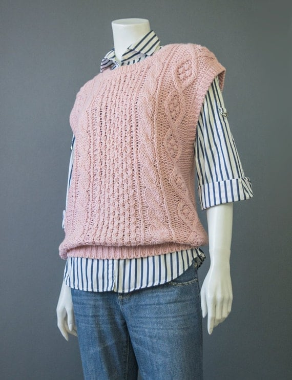 SALE! Vintage 80s Sweater Vest Hand Knit Sweater Sleeveless Sweater Mauve Pink Sweater Cable Knit Sweater New Wave 1980s Sweater M/L