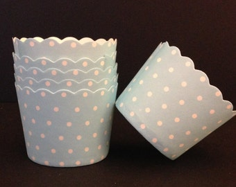 Blue with White Polka Dot paper baking cups  (24), nut, portion, snack, dessert cups