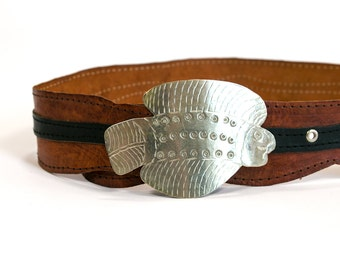Vintage 1970's Hand Crafted Fish Belt Buckle with Leather Belt Hand Made Retro Fishing Silver Retro Vtg Vg Unisex Adults