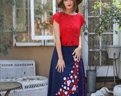 Vintage 70s EMBROIDERED Red FLOWERS Wrap Skirt  // Vintage Clothing by TatiTati Style on Etsy