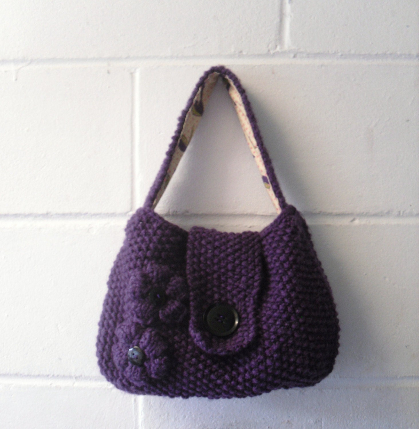 Knitting Pattern Evening Bag : Purple Knitted Bag Small Hand Knitted Evening Bag