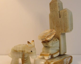 Onyx Statue Pair - Little Burro and Siesta Man Leaning on Saguaro Cactus - Mexican Souvenir Figures