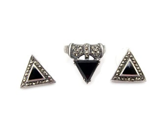 Vintage  Sterling Silver Onyx Ring Matching Earrings Size 8 Jewelry