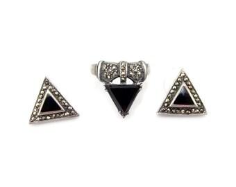 Sterling Silver Onyx Ring Matching Earrings Marcasite Size 8 Vintage Jewelry 1980s 80s Set Ring Earrings 925 Silver Pierced Earrings