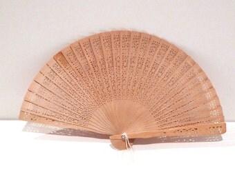 Folding Fan Vintage Wood Filigree Fan Chinese Hand Fan Carved Lace Look Fan with Cross Wooden Church Fan Asian costume 1980s 1990s