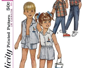 Simplicity 5984 Child 's 60s Shirt and Pants in Two Lengths Sewing Pattern Size 3 Chest Breast 22