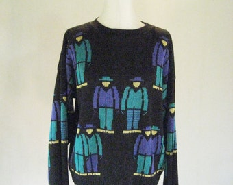8-Bit Character Novelty Print Knit Sweater Top