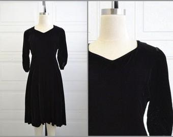 1940s Black Velvet Swing Dress