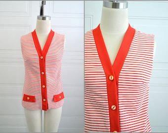 1970s Alex Colman Red Striped Vest