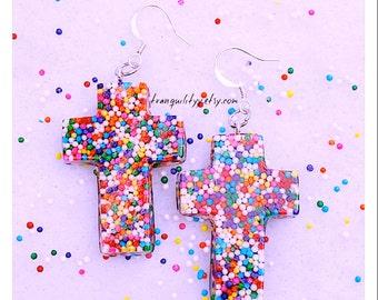 Sprinkle Cross Earrings , Sweet Blessings Real Candy Sprinkle Earrings By: Tranquilityy