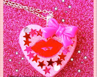 Glitter Heart Necklace Super Sweet Glitter Resin  Flat Heart Necklace W/ Pink Bow  , Kawaii, Hipster, Scene By: Tranquilityy
