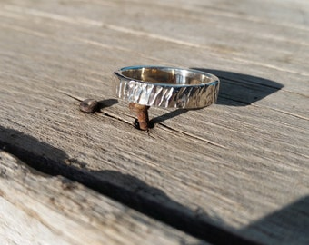 Hammered Sterling Silver Ring - 3 mm wide - Size 7.5