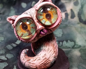 Pinky the Catapiller Crazy eyed pink polymer clay sculpture Desk buddy Cake topper figurine OOAK  Cat worm Collectable