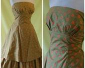 REDUCED - 1950s Summer Dress / 50s Strapless Sun Dress / Novelty Print / Boned Bodice / Stiffened Underskirt / Fredrica / M Medium