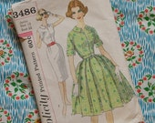 Vintage 1950s 1960s Sewing Pattern / Simple Shirtwaist Day Dress with Full or Slim Skirt / Size 13 - 33 Bust