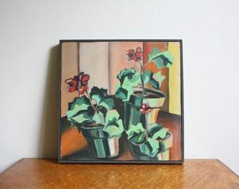 Vintage Cubist Geranium Potted Plant Floral Original Acrylic Framed Painting Signed