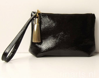leather wristlet / Clutch / leather zipper pouch in black patent leather with gold tassel bag charm / tassel keychain. Gift for her
