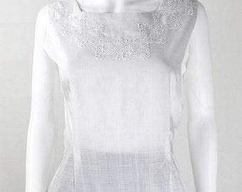 Original Vintage 1950s White Embroidered Blouse UK Size 10/12