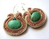 green eye - soutache earrings - free shipping