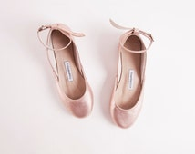 Rose Gold Ballet Flats with Ankle Straps | Handmade Leather Ballerina Pumps | Tie Around Shoes | Rose Gold...made to order