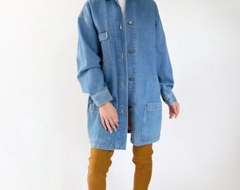 Denim Coat, Jean Jacket, button front, oversized baggy long, Perry Ellis 90s 90's, minimal minimalist, grunge, womens medium m