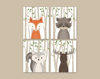 Forest Animals Beige Green Woodland Nursery Decor Woodland Nursery Woodland Animals Forest Animal Prints Set of 4 Fox Squirrel Moose Raccoon