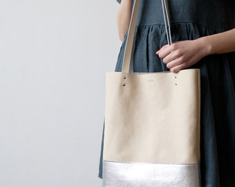 Silver Dipped Leather Tote bag