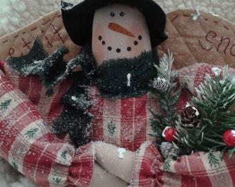 Handmade Primitive Winter Snowman Shelf Sitter or Pillow