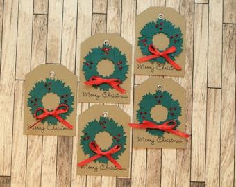 Mini Wreath Christmas Gift Tags - Set of 5