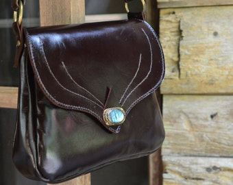 Handmade  Leather Bag/ hand bag/ shoulder bag / purse / crystal / labradorite