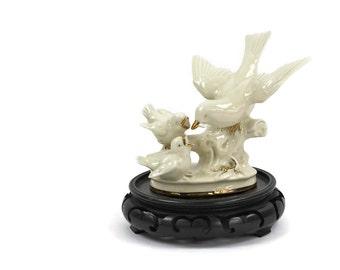 "Bird Figurine - German Figurine, Porcelain Figurine, ""Motherhood"", Collectible Figurine, New Mother Gift, c1980s"