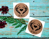 Antlers With Initials Stickers, Envelope Seals, Labels, Packaging Label, Custom Sticker, Wedding Favor Label