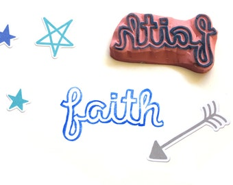 Faith Hand Carved Rubber Stamp, Unmounted