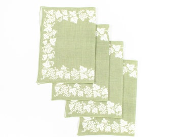 Vintage Grapes Placemat Set - Leaves, Vines, Fruit on Olive & Cream Linen - Large Size - Autumn or Thanksgiving Table Linens