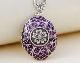 Silver Locket Necklace,Jewelry Gift,Purple Flower Locket,Flower,Locket,Wedding Necklace,Bridesmaid Necklace