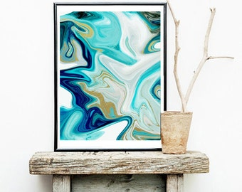 Abstract art, blue abstract, abstract print, office art, ocean abstract, gold and blue art, marbled abstract, painting print, fine art print
